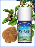 VedAroma Palo Alto (Holy Wood) Essential Oil bottle and botanical illustration of the plant.